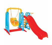 Žaidimų aikštelė 3in1 | Čiuožykla 155 cm, sūpynė ir krepšinio lankas | Woopie 30760