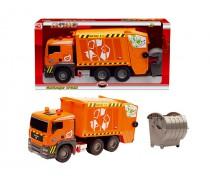 Žaislinė oranžinė šiukšliavežė 55 cm su konteineriu | Dickie